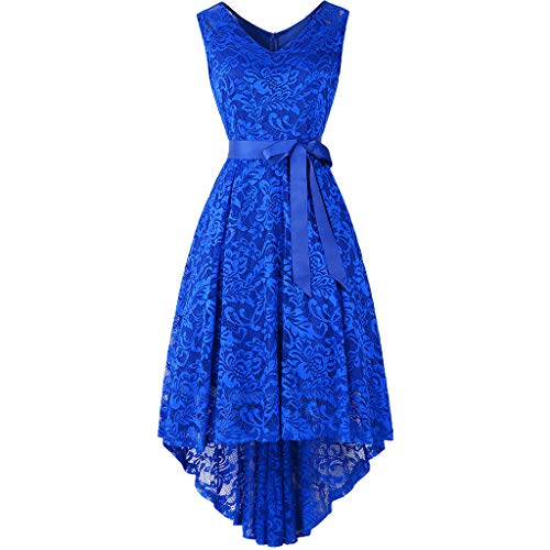 - URIBAKE ♥️ Women's Lace Vintage Dress Sleeveless V-Neck Belt Solid Spring Country Cocktail Mini Dress Blue