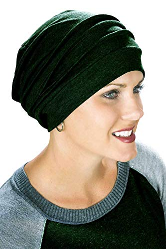 Headcovers Unlimited Slouchy Snood-Caps for Women with Chemo Cancer Hair Loss Deep Green Heather