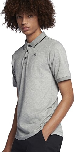 Nike mens SB DRY POLO PIQUE TIP SS 827602-064_L - DK GREY HEATHER/ANTHRACITE