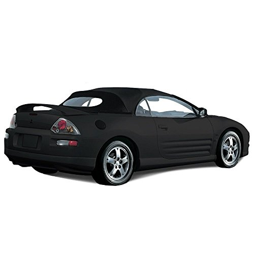 Compatible With Mitsubishi Eclipse Spyder Convertible Top 2000-2005 with Heated Glass Window in Twill Vinyl (Black)