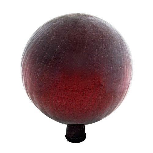 Achla Designs 12-Inch Crackle Gazing Globe Ball, Red -