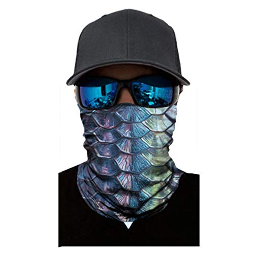 DEESEE(TM) Fish PrintNeutral Outdoor Head Scarf Neck Windproof Face Mask Sun Protection Headband (G)
