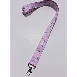 Unicorn Lanyard ID Badge Key Keeper Keychain Camera Strap Fabric Pink Unicorns and Rainbows