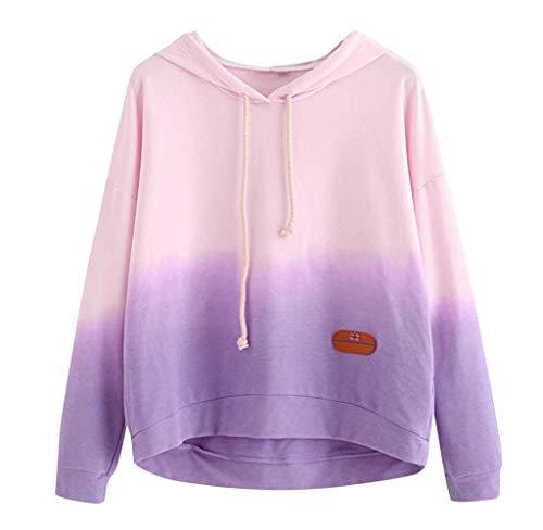 (Women's Long Sleeve Hoodie Sweatshirt Colorblock Tie Dye Print Pullover Shirt)