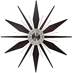 Infinity Instruments Utopia Mid-Century 30 inch Wood and Metal Wall Clock, Walnut Dark Wood