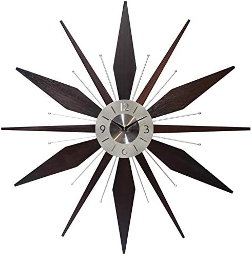 Mid Century Mantle Clock Starburst Wall Clock Large 30 inch Midcentury Modern Wall Clock Unique Modern Design Sunburst Clock Mid Century Wall Decor