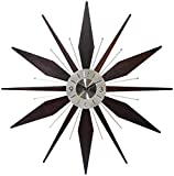 Infinity Instruments Utopia Mid-Century 30 inch Wood and Metal Wall Clock, Walnut Dark Wood