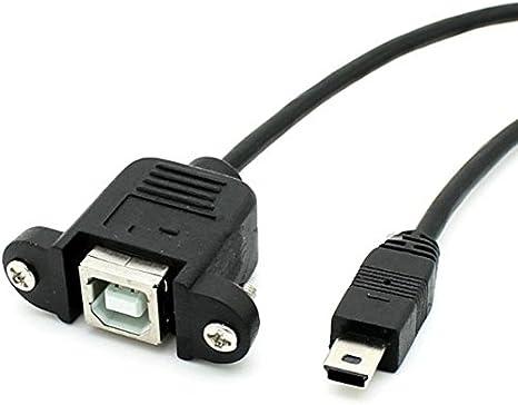 USB 2.0 B Female Socket Printer Panel Mount To Micro USB 5 Pin Male Cable 50cm