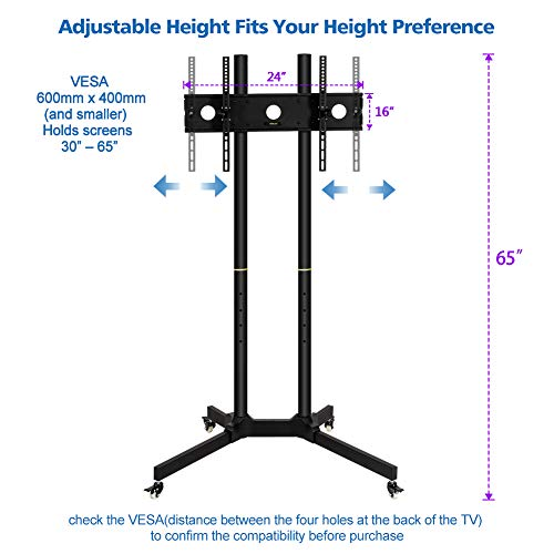 Toolsempire Height Adjustable Mobile TV Cart Rolling TV Stand for 30'' to 65'' Universal LCD LED Plasma Flat Panel Screens Within 600x400mm up to 132lbs with Wheels by Toolsempire (Image #1)