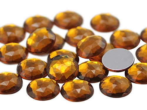 (25mm Brown Smokey Topaz A22 Flat Back Round Acrylic Jewels Pro Grade - 20 Pieces (Smokey Topaz))