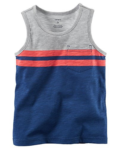 - Carter's Boys' Navy and Grey Colorblock One Pocket Tank Top (3M)