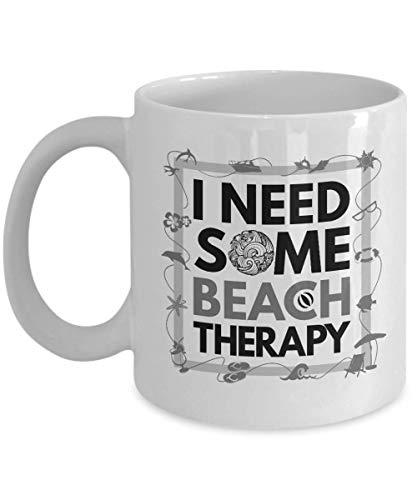 Dog Frame House Picture Stocking - I Need Some Beach Therapy Summer Themed Ceramic Coffee & Tea Gift Mug, Décor, Items, Accessories For Men & Women Beach Lovers