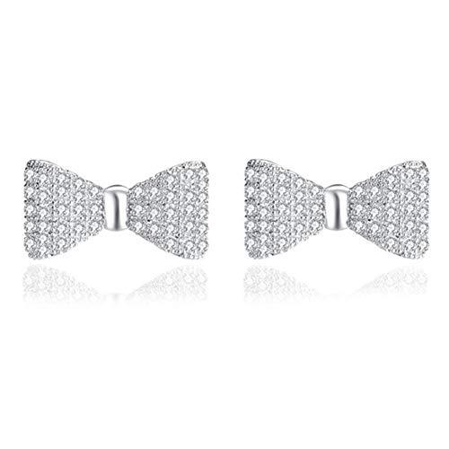 Czjewelry Silver Plated Cubic Crystal Cute Bow Tie Stud Earrings for Women ()
