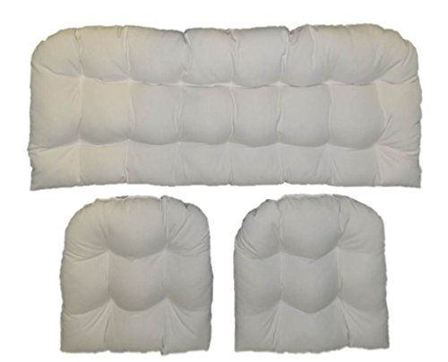Resort Spa Home Decor Solid Ivory Fabric Cushions for Wicker Loveseat Settee & 2 Matching Chair Cushions ()