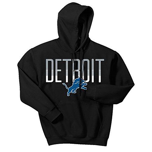 Detroit Lions Mens Sweatshirts - Zubaz NFL Detroit Lions Men's Gradient Logo Hoodie, X-Large, Black