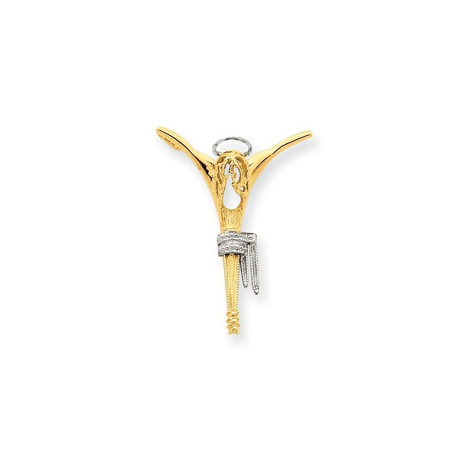 14k Gold Two Tone Gold Religious Pendant