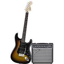 Squier by Fender Strat HSS Electric Guitar Pack w/ Frontman 15G, Brown Sunburst