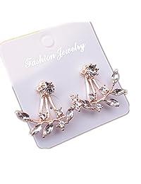 1 Pair 18K Rose Gold Plated Clear Crystal Leaf Stud Earring Feather Ear Cuff CZ Zircon Ear Jacket for Women
