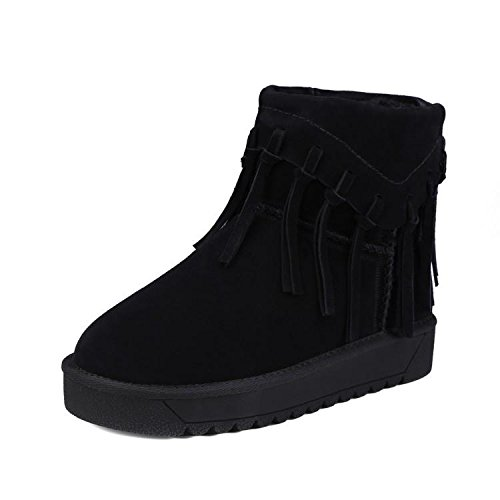 NSXZ 's fringed cowhide Winter boots boots BLACK women round snow 120W cotton qBZTq1