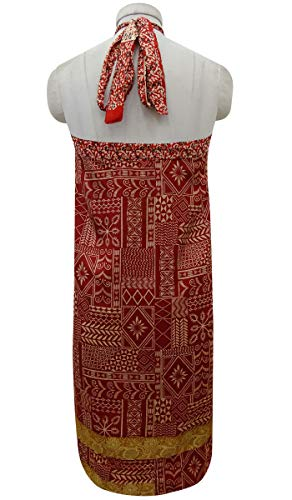 Pure Rouge Vintage Beige Rouge Summer Dress Imprimer Femmes Soie rversible Beach et Indianbeautifulart Check Les Wrap Saree IAwgnq