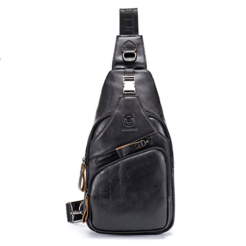 - BULLCAPTAIN Shoulder Backpack Casual Cross Body Bag Big Size Genuine Leather 9.7 inch Ipad Pro Pack Travel Sling Bag XB-105 (Black, Small)