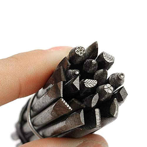 rackerose Practical 20pcs 4mm Steel Punches Flower Punch Stamp Set Jewelry Metal Stamping DIY Tool(Multi-Color,one Size)