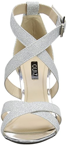 Sandalias Plata Shimmer tacón Mujer Silver Strappy con Quiz zPFUgAq