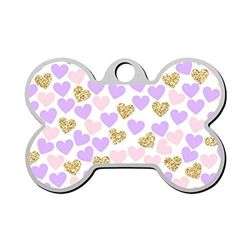 (Custom Purple Gold Heart Pet ID Tag Bone Shape Dog Tags & Cat Tags Identity Tags)
