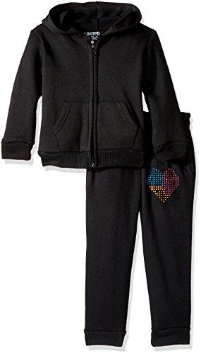 Limited Too Little Girls' Burnout Fleece Jog Set, Black, 3T