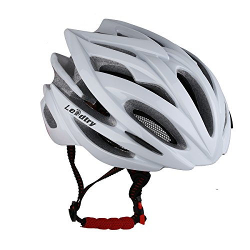 LEADTRY HM-1 Bicycle Helmet Ultralight Integrally Molded EPS Bike Helmet Safety Helmet Specialized for Road/Mountain Terrain Bicycle with Comfortable Removable Washable Antibacterial Pads White