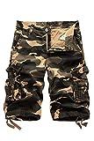 HSRKB Men's Belted Cargo Short Work Shorts for Men (Khaki Camouflage, 32)