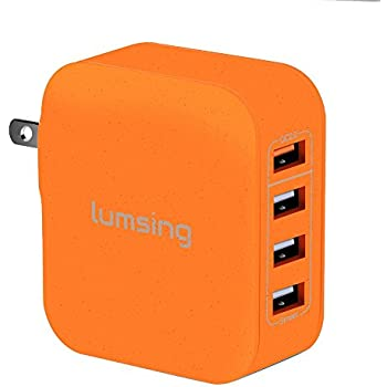 Lumsing Quick Charge 2.0 Multi-Port USB Wall Charger,4 Port Wall Charging Hub for SmartPhones-Orange