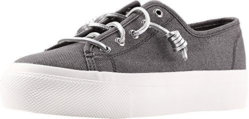 Sperry Top-Sider Sky Sail Metallic Twill Sneaker Women 7 Grey ()
