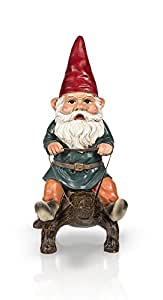 "Garden Gnome Riding Turtle 14"""
