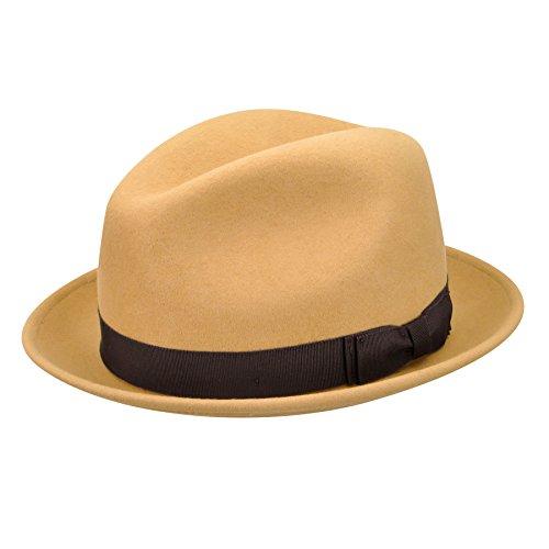 (Pantropic Men's Jordan Lite Felt Fedora Hat, Dijon,)