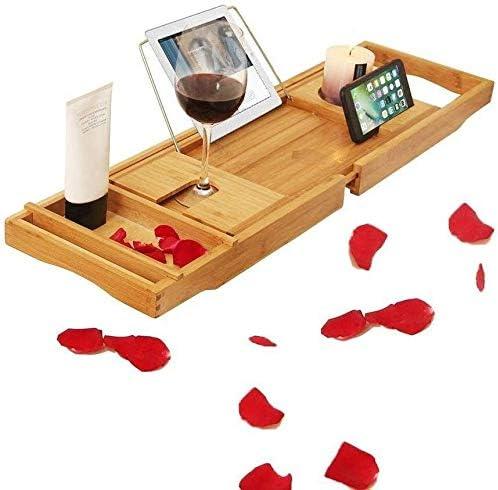 竹バスタブキャディトレイ、あらゆるサイズのバスタブ調節可能な木製サービングトレイバスタブキャディトレイシャワートレイ用浴槽を備えたブックスタンド-Aについてはバスタブトレー (Color : A)