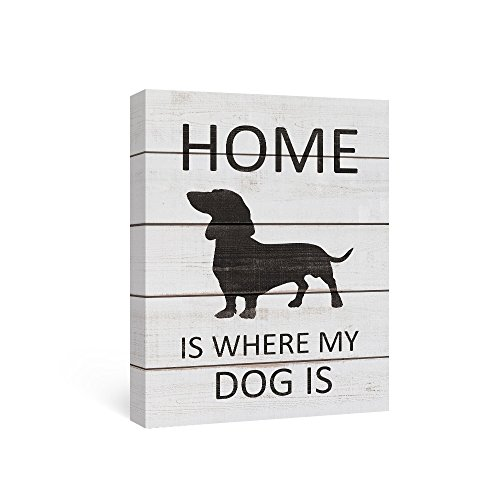 SUMGAR Quotes Wall Decor Canvas Painting Wall Art Black and White Artwork for Dining Room Black (Dachshund Wall)