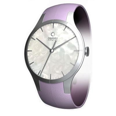 Obaku Harmony Womens Titan Glass Watch - Purple Band / Pearl Face - V100LCWRQS-011