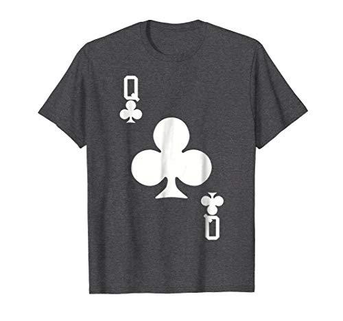 Mens Queen of Clubs Card Halloween Costume T-Shirt (White) 2XL Dark Heather
