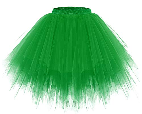 Bridesmay Women's Tutus Tulle Skirt 50s Vintage Petticoat Ballet Bubble Skirts Green M ()