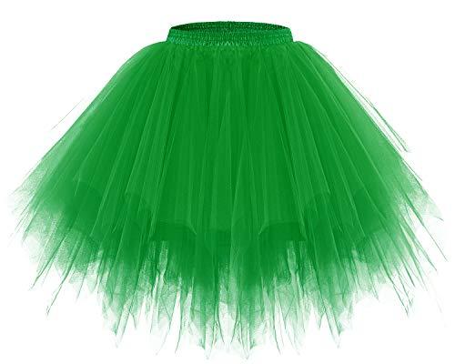 Bridesmay Women's Tutus Tulle Skirt 50s Vintage Petticoat Ballet Bubble Skirts Green -