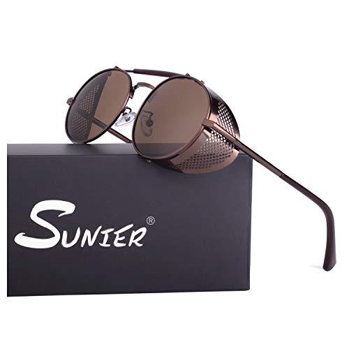 Sunier Retro Round Steampunk Sunglasses Side Shield Goggles Gothic Sun ()