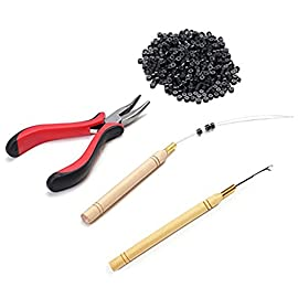 TLHOME Hair Extension Kit Pliers + Pulling Hook + Bead Device Tool Kits + 500pcs Miciro Rings (Black# Beads)