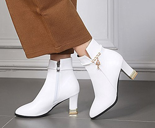 Bout Chunky Boots Femme Aisun Strass Low Bottines Blanc Sexy Cheville Pointu TYnqHZx