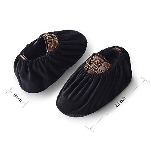 Uarter Reusable Booties Shoe Covers 5 Pairs, Anti Slip Boot Shoe Covers with Elasticity Convenience for Indoor, Contractors and Carpet Floor Protection, Machine Washable, Black by Uarter (Image #1)
