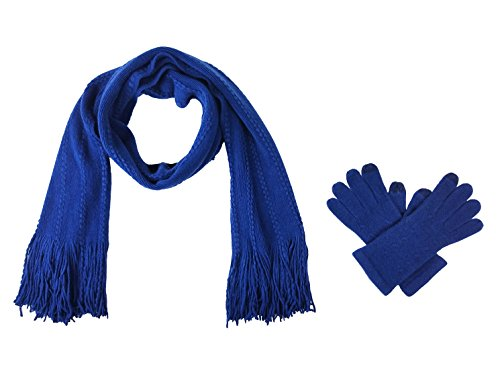 Bruceriver Women's Knit Scarf & Glove Set Cashmere Feel and Cable Design (Navy Touchscreen)