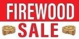 Pre-Printed Firewood Sale - Stripe - Red White (10' x 5')