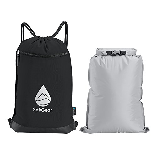 Cheap Såk Gear GymSak – 2-in-1 Drawstring Gym Bag with Removable Waterproof Bag | Features an Exterior Zippered Pocket with Key Clip and Reflective Logo | Premium Quality Cinch Sack in Black & Grey