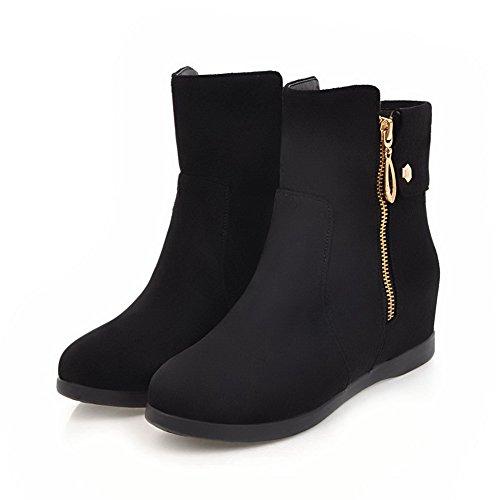 AgooLar Women's Solid PU Kitten-Heels Zipper Round-Toe Boots Black M3kbbUu