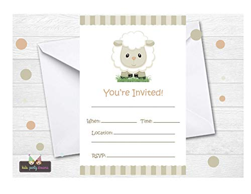 - Neutral Little Sheep Invitations 12 pcs for Boys and Girls, for Lamb Baby Shower, Birthday Party, Invites Cards First Communion Baptism
